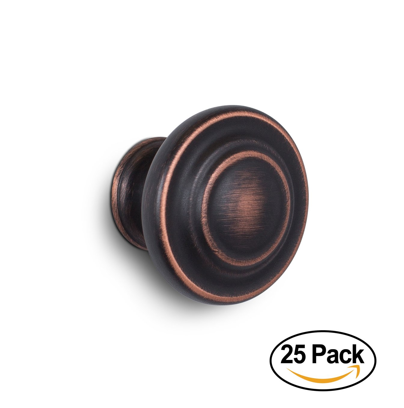 BirdRock Home Classic Cabinet Knobs | Oil Rubbed Bronze | 25 Pack | Kitchen Cupboard Furniture Cabinet Hardware Drawer Dresser Pull | 1.25 Inch Diameter