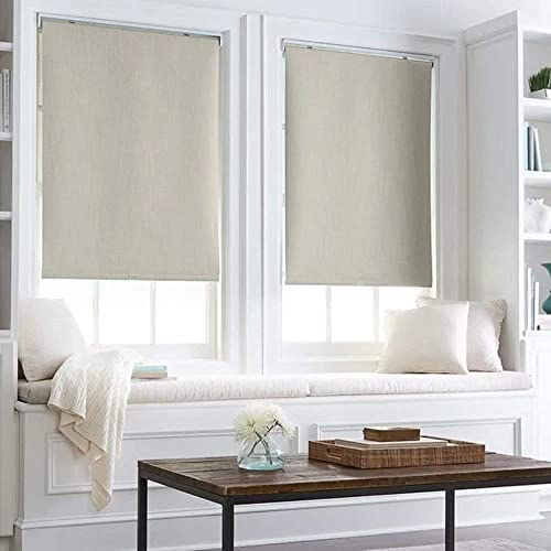 100 Blackout Thermal Insulated Waterproof Fabric Privacy Protection Customized Window Roller Shades,70 W x 40 L, Light Gray