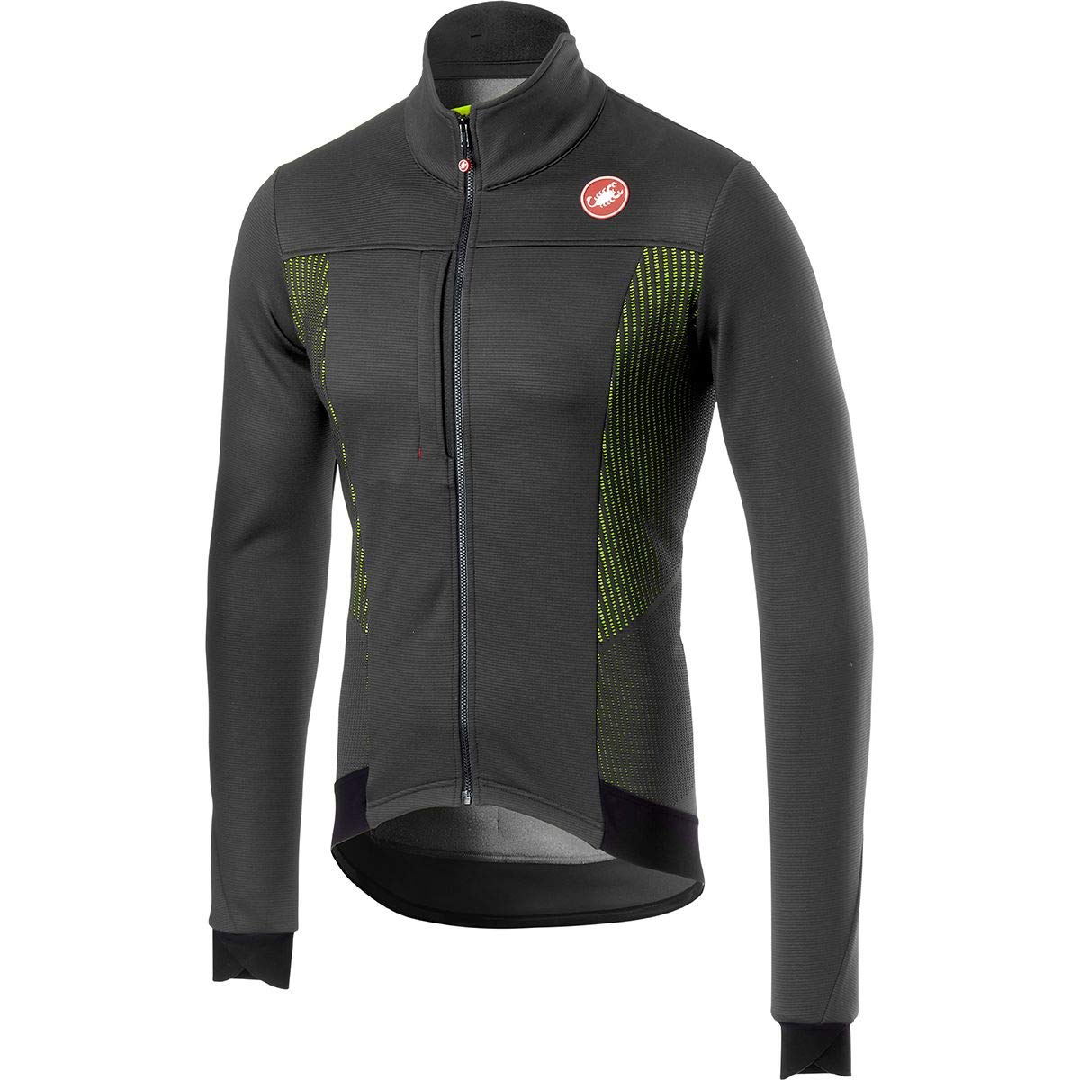 Castelli Espresso Vジャケット メンズ B07H8PLHQF Large|Dark Gray/Yellow Fluo Dark Gray/Yellow Fluo Large