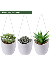 supla 3 pcs ceramic hanging planters in whitewith white string set indoor outdoor