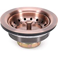 KONE 3-1/2 Inch Kitchen Sink Drain AC Assembly with Strainer Basket/Stopper, all Stainless Steel Antique Copper Durable and Rustproof