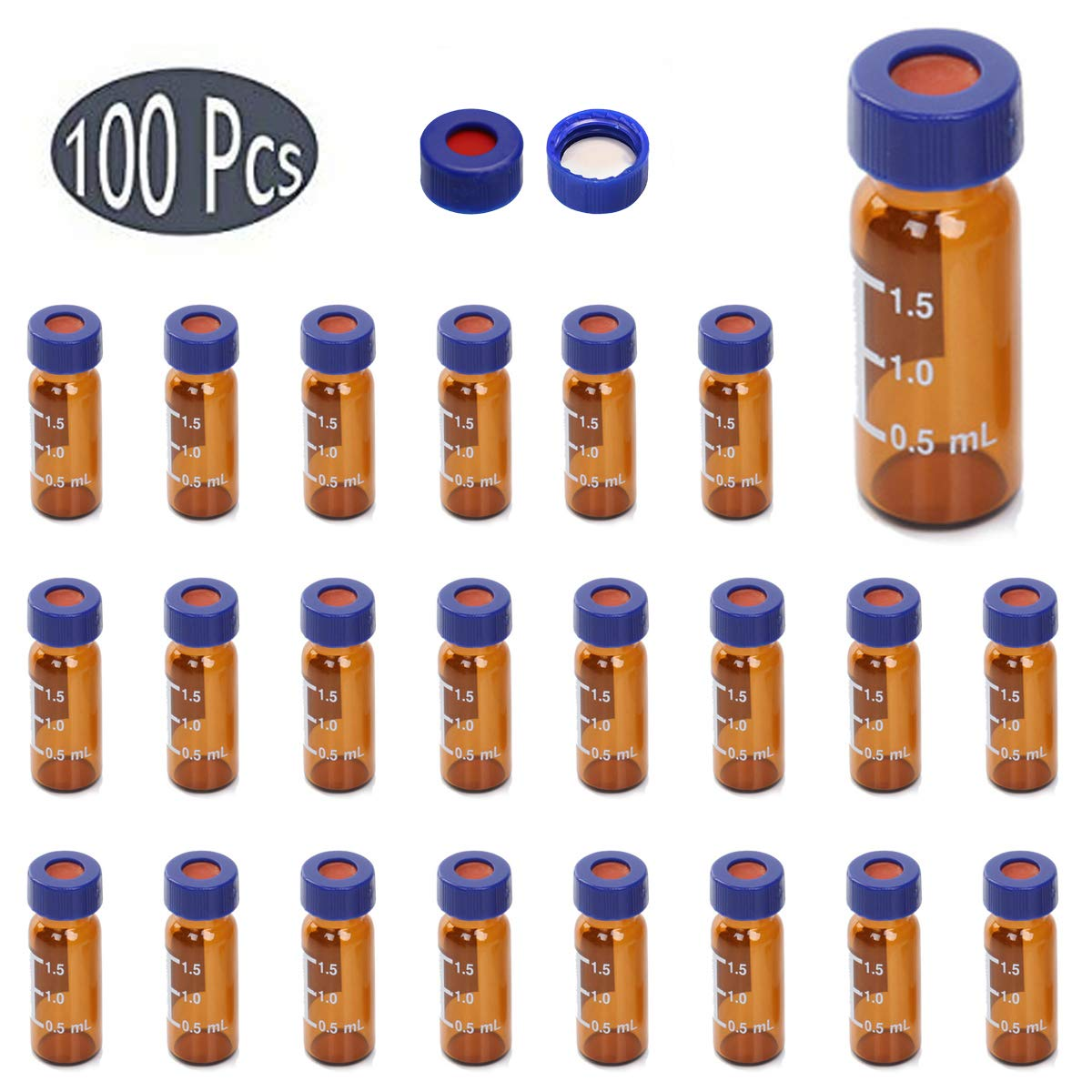 Moonter Autosampler Vials, 2ml Amber Glass Sample Vials with Write-on Spot and Graduations 9mm Blue Screw Cap with Hole + White PTFE/Red Silicone Septa for 9-425 Screw Top Vial, Set of 100 (A)