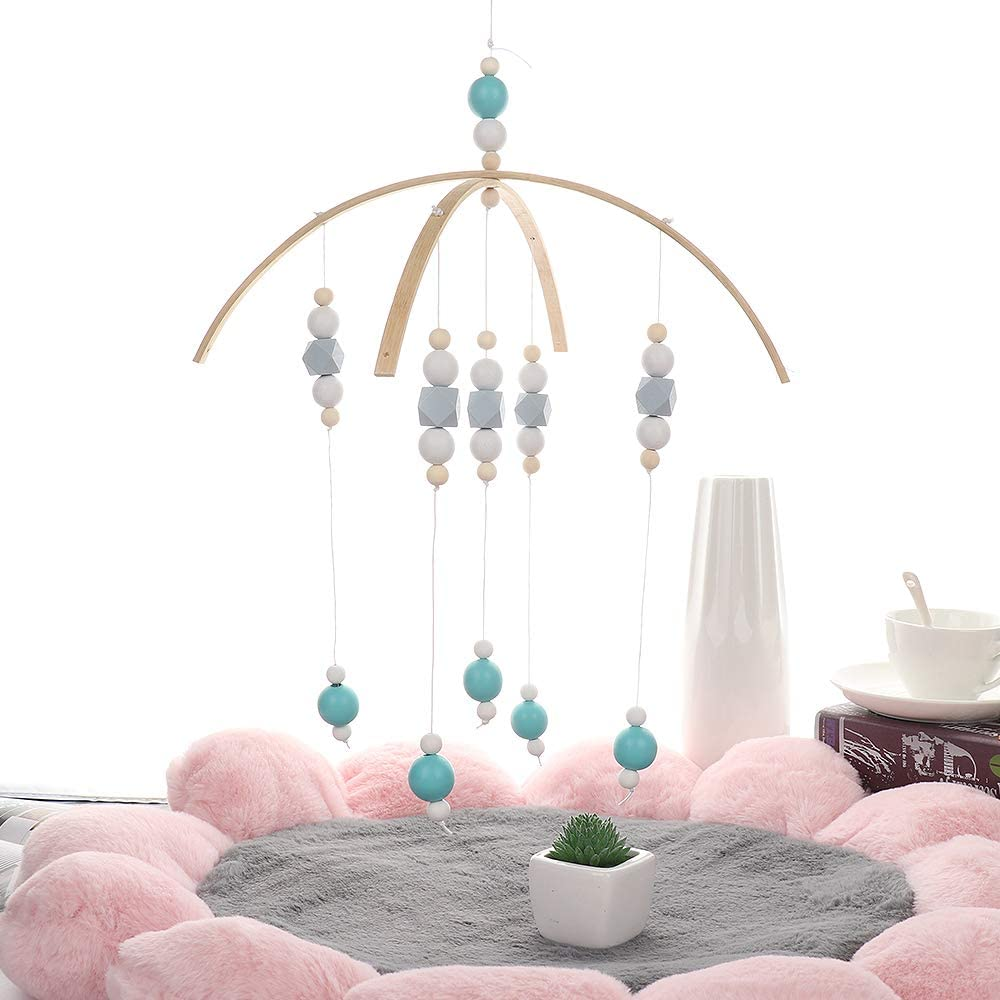 Pink Baby Musical Crib Mobile Wooden Beads Wind Chime Rotating Rattle Cot Toys Hanging Decoration Cozyhoma Bed Bell for Baby