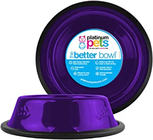 Platinum Pets Non-Tip Stainless Steel Cat Bowl, 6 Oz, Electric Purple