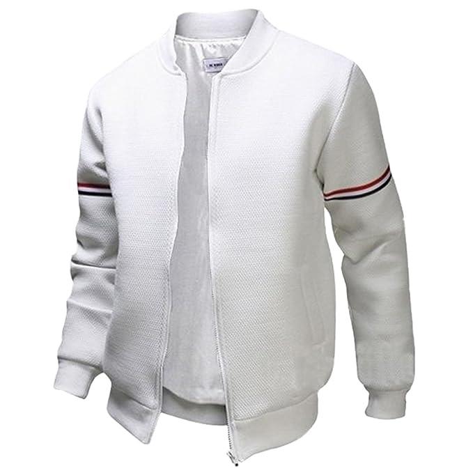 Panegy - Hombre Sudadera Chaqueta College Colegio de Deporte Béisbol Jacket Baseball Hip Hop Cazadora Clásica para Joven Adolescente de Moda - Blanco ...