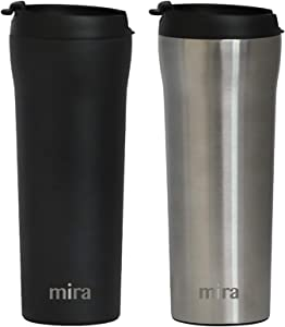 MIRA 16 oz Stainless Steel Insulated Travel Mug with lid - Spill Proof Vacuum Insulated Car Tumbler Cup for Coffee & Tea - Thermos Keeps Drinks Steaming Hot or Ice Cold - 2 Pack