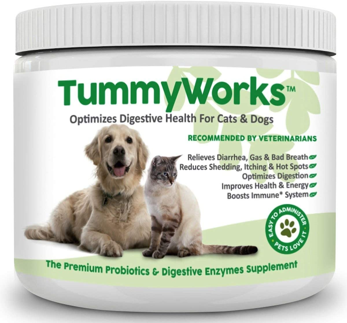TummyWorks Probiotic Powder for Dogs Cats. Relieves Diarrhea, Upset Stomach, Gas, Constipation Bad Breath, Itching Yeast Infections. Digestive Enzymes Prebiotics. Made in USA