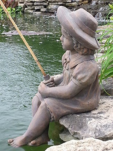 Massarelli's Fishing Girl Cast Stone Statue - Pond and Garden Decor Accent Sculpture - Great Garden Gift Idea!