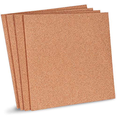 Juvale 4-Pack Natural Cork Tile Boards - 12 x 12 Inch Frameless Mini Wall Bulletin Boards