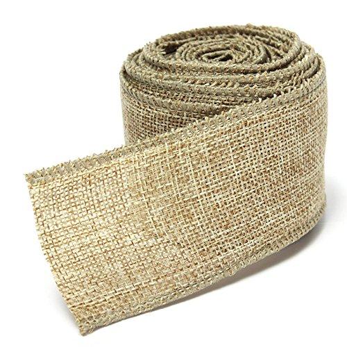 5M Home Decoration Natural Linen Wedding Party Burlap Wreath Jute Burlap Ribbon Lace Craft Gift Wrap Rustic Fabric Supplies (khaki) by homesky (Image #1)