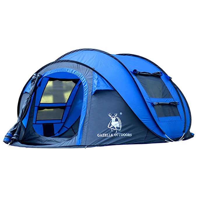 LightInTheBox Gazelle Outdoors 3-4 Persons Tent Single Camping Tent One Room Pop up Tent Waterproof Windproof Ultraviolet Resistant Foldable for Hiking