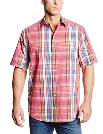 Perry Ellis Men's Big-Tall Big and Tall Short Sleeve Large Modern Plaid Shirt, Jaipur Pink, 3X