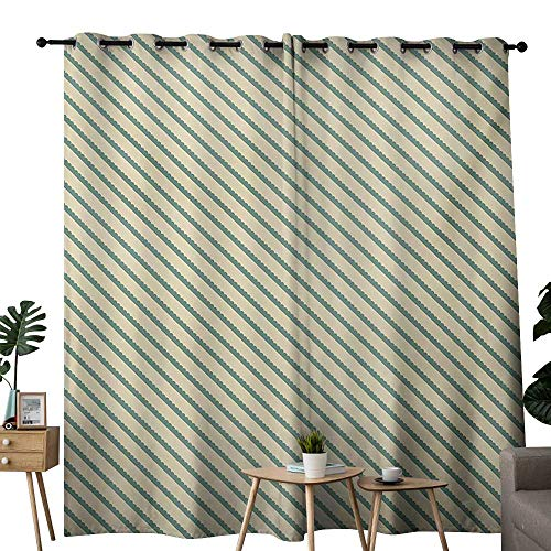 Green Vintage Jade (NUOMANAN Curtains 84 inch Length Retro,On The Bias Geometric Green Stripes Pattern Romantic Vintage Design Print,Jade Green and Cream,Modern Farmhouse Country Curtains 52