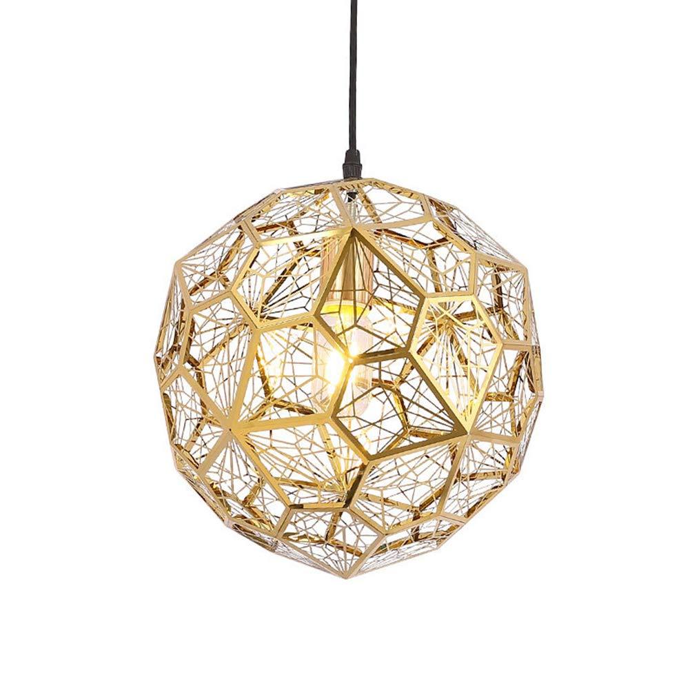 TopDeng Metal Globe Pendant Lights, Creative Personality Pendant Lighting Stainless Steel Hardwired E26 Diamond Drop Hanging Light 1 Light-Titanium Gold 30cm