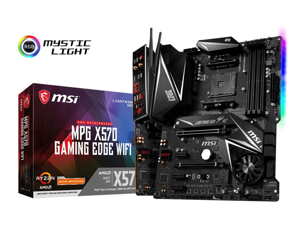 MSI MPG X570 Gaming Edge WiFi Motherboard (AMD AM4, DDR4, PCIe 4.0, SATA 6Gb/s, M.2, USB 3.2 Gen 2, AC Wi-Fi 5, HDMI, ATX)