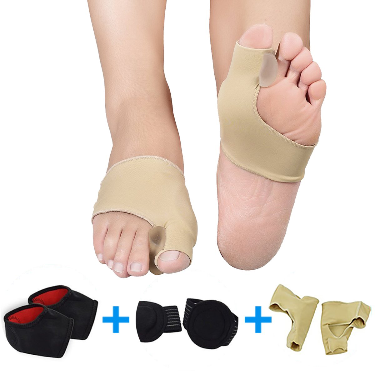Bunion Splint Foot Care Protector, P-Jing Bunion Corrector Relief Protector Sleeves Kit & Arch Support & Foot Heel Protector for Heel Pain Treatment, Flat Foot Plantar Fasciitis Pain etc