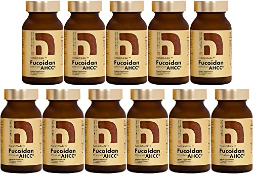 NatureMedic Fucoidan AHCC Brown Seaweed Immunity Supplement with Organic Mekabu Mozuku Agaricus 11 Bottles Pack 1,760 Vegetable Capsules Made in Japan