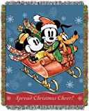 Mickey Mouse,Sleigh Ride Woven Tapestry Throw Blanket, 48'' x 60''