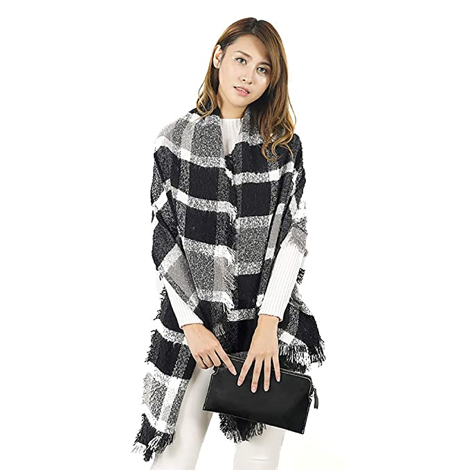 332a092a9b45e Women's Cozy Color Block Long Shawl Wrap Korean Style Fashion Fuzzy Grid  Scarf at Amazon Women's Clothing store: