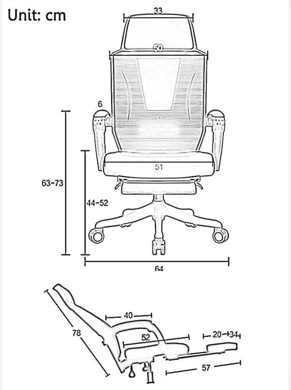 Xiuyun datorstol skrivbordsstol ergonomisk justerbar uppgift stol skelett rygg synkronmekanism med ländrygg stöd nät kontorsstol lager (färg: vit) Svart