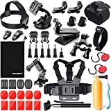 ZOOKKI Sports Camera Accessories Kit for Hero 7 6 5 Session 5 Black Silver SJ4000/SJ5000/SJ6 Legend/SJCAM M20/AKASO EK5000 EK7000/Xiaomi Yi 4K/WiMiUS