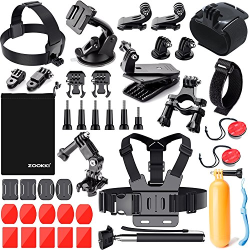 Zookki Sports Accessories Kit for GoPro 6 HERO5 Black 4 Silver Hero 3 Outdoor Action Camera Accessories for SJ4000/SJ5000/SJ5000X/SJ6 Legend/SJCAM M20 4K/M10 WiFi/Xiaomi Yi 4K/WiMiUS by ZOOKKI