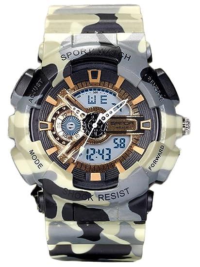 Relojes para Jóvenes adultos niños niñas deporte Militar sumergible 50 M, resistente a los golpes, para senderismo, amarillo + oro: Amazon.es: Relojes