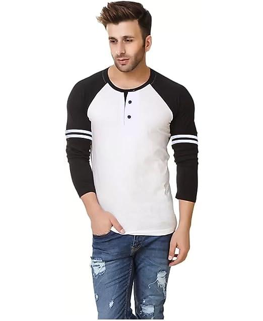 8cd93168849b LEWEL Stylish Cotton Men s Henley Raglan Full Sleeve White
