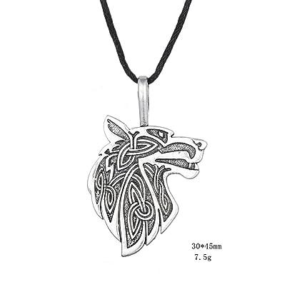 Halskette Wolf Stil Gravur Wikinger Tier Totem Mut Und Stärke
