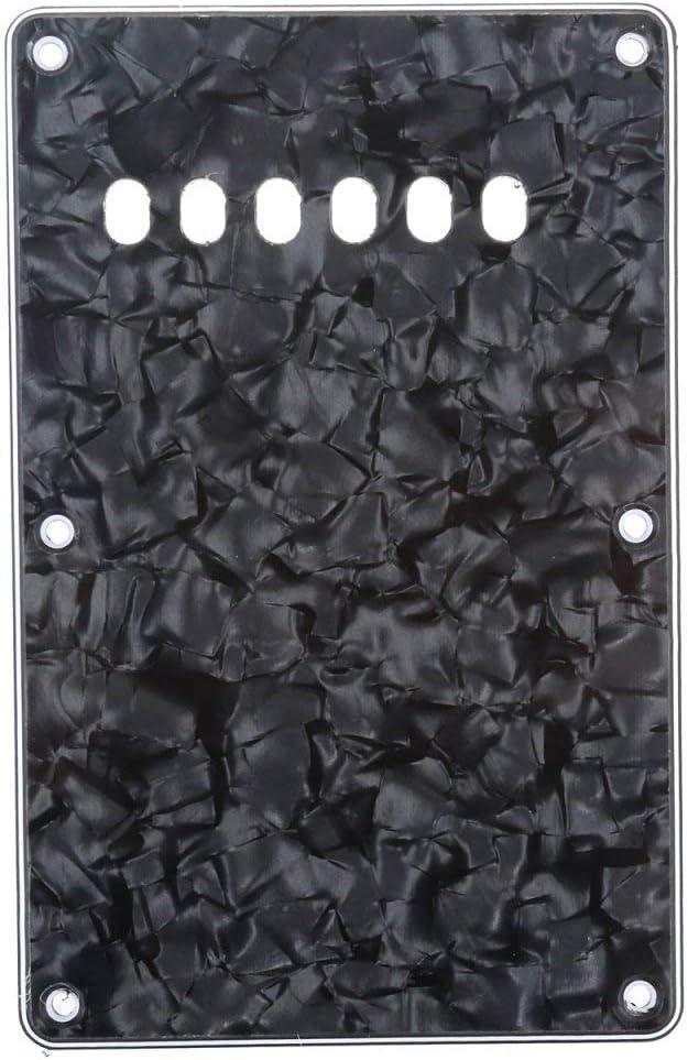Musiclily 6 Agujeros Tapa de Trémolo Placa Trasera para Guitarra China Made Squier,4 capas Black Pearl