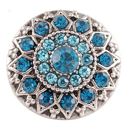 Interchangeable 18-20mm Snap Jewelry Rhinestone Designer by My Prime Gifts (Light Blue & Teal) (Snap Rhinestone)