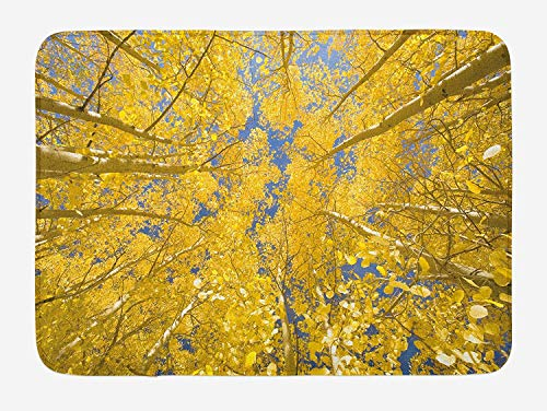 vQ87o0t Yellow and Blue Bath Mat, Looking Skyward Amongst The Patch of Sun-lit Aspen Trees in Autumn Life Print, Plush Bathroom Decor Mat with Non Slip Backing, 23.6 W X 15.7 W Inches, Yellow