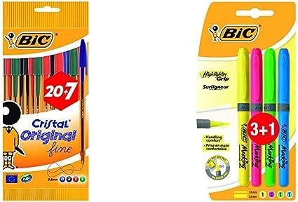 BIC Cristal Original Fine bolígrafos punta fina (0,8 mm) colores ...