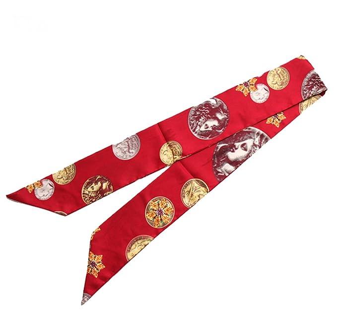 TOPSTORE01 Femme Foulard Ruban Echarpe Décoration Accessoire Sac à Main  Bandeau à Cheveux Cravate Poignet De La Serviette Style Italien Rouge 120x8  ... fcdf649613d