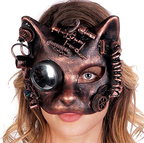 Cat Face Steampunk Gear Half Mask Halloween Costume Party Goggles (COPPER) (Goth Halloween Costumes For Kids)