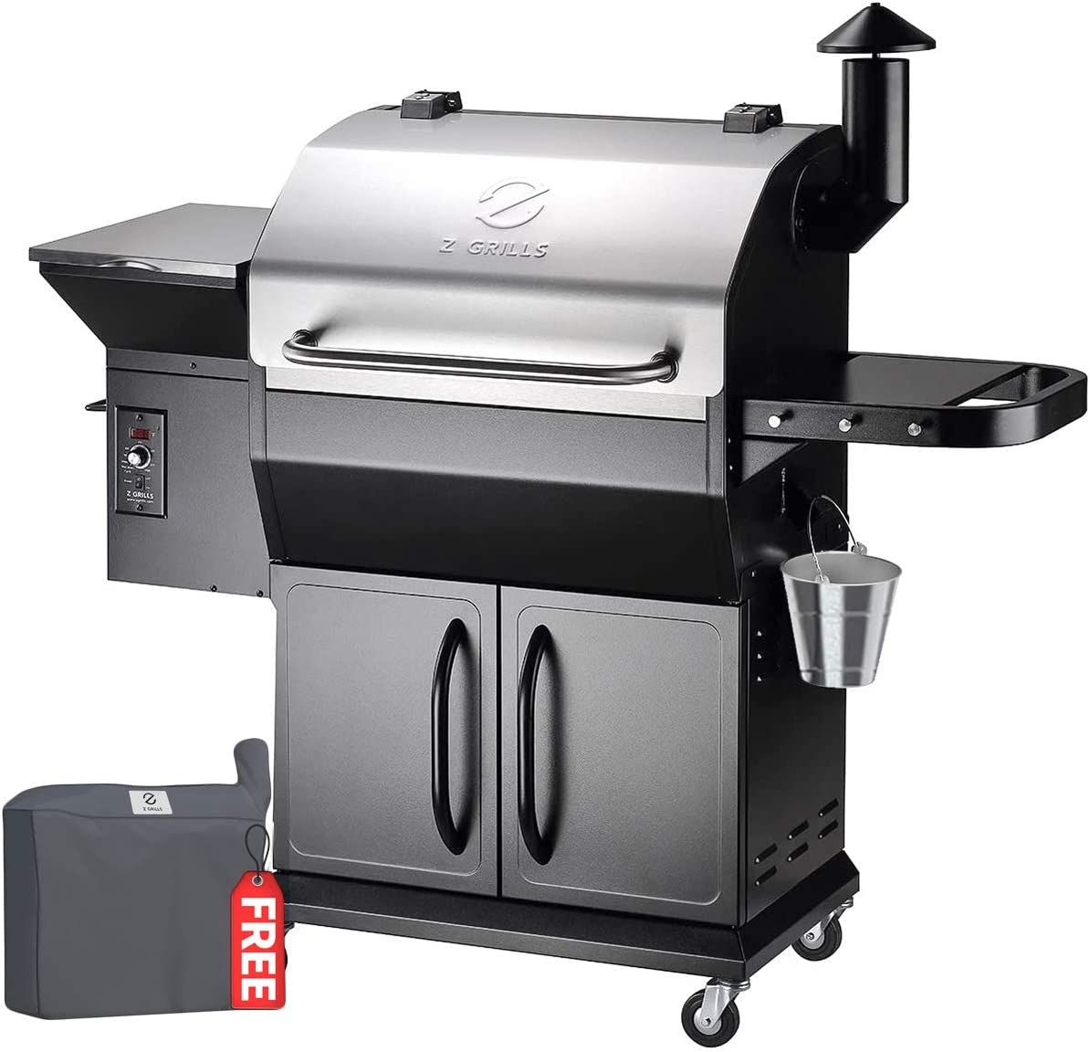 Z GRILLS ZPG-1000E 2020 New Model Wood Pellet Grill Smoker, 8 in 1 BBQ Grill Auto Temperature Control, 1060 Sq in Stainless with Cabinet