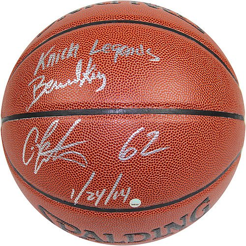 Bernard-KingCarmelo-Anthony-Dual-Signed-IO-NBA-Brown-Basketball-w-62-12414-Inscription-By-Anthony-and-Knicks-Legends-Inscription-By-King-Certified-Authentic-Autograph