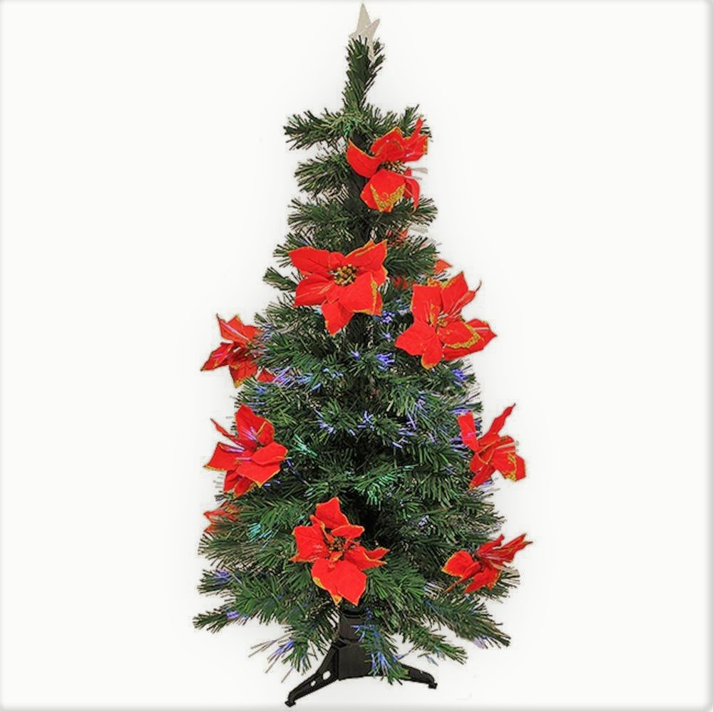 Artificial Christmas Tree. Fake 5ft Xmas Fiber Optic Pine Christmas Tree With Red Poinsettias. Compact, Frosted Design With Lush Branches & Natural Look. Great For Indoor, Holiday Season Party Decor.