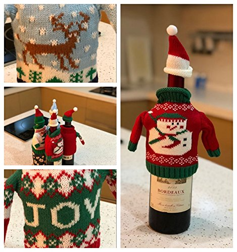 FEFEHOME Christmas Wine Bottle Cover Gift Warping Ugly Sweater (Set of 4) -(F) by FEFEHOME (Image #6)