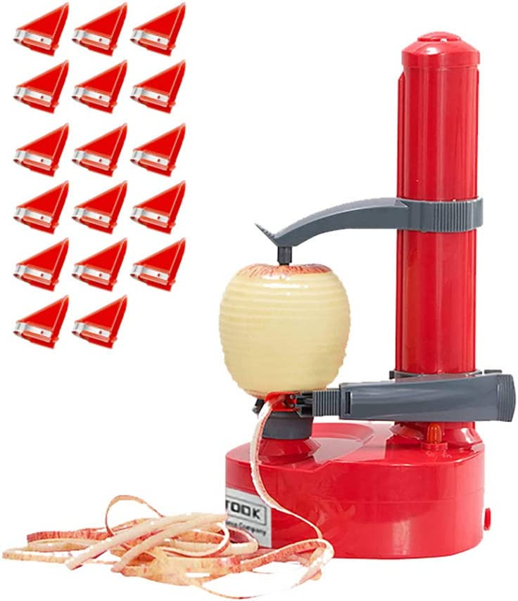 COWSTOOK Electric Potato Peeler Automatic Apple Rotato Express, Set of 18 Replaceable Blades Electric Fruits Vegetables Peeler Kitchen Peeling Machine(Red)