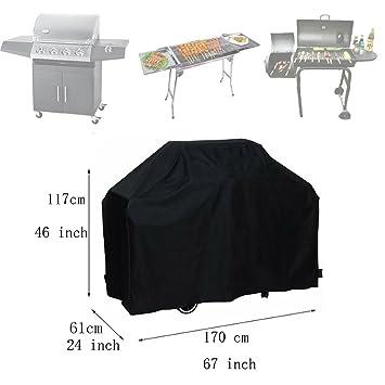 Cubierta para barbacoa, funda mediana impermeable para barbacoa, cubierta para parrilla, horno para ahumar carnes, color negro. 170 cm: Amazon.es: Jardín