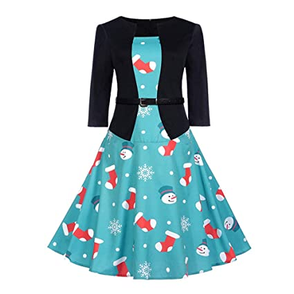 Amazon.com: Christmas Dresses Plus Size, Women\'s 3/4 Sleeve 1950s ...