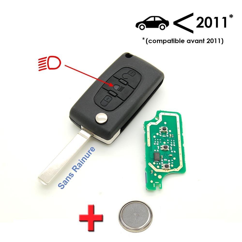 Citroen - Llave electrónica programable con 3 botones para Citroën C4 Picasso