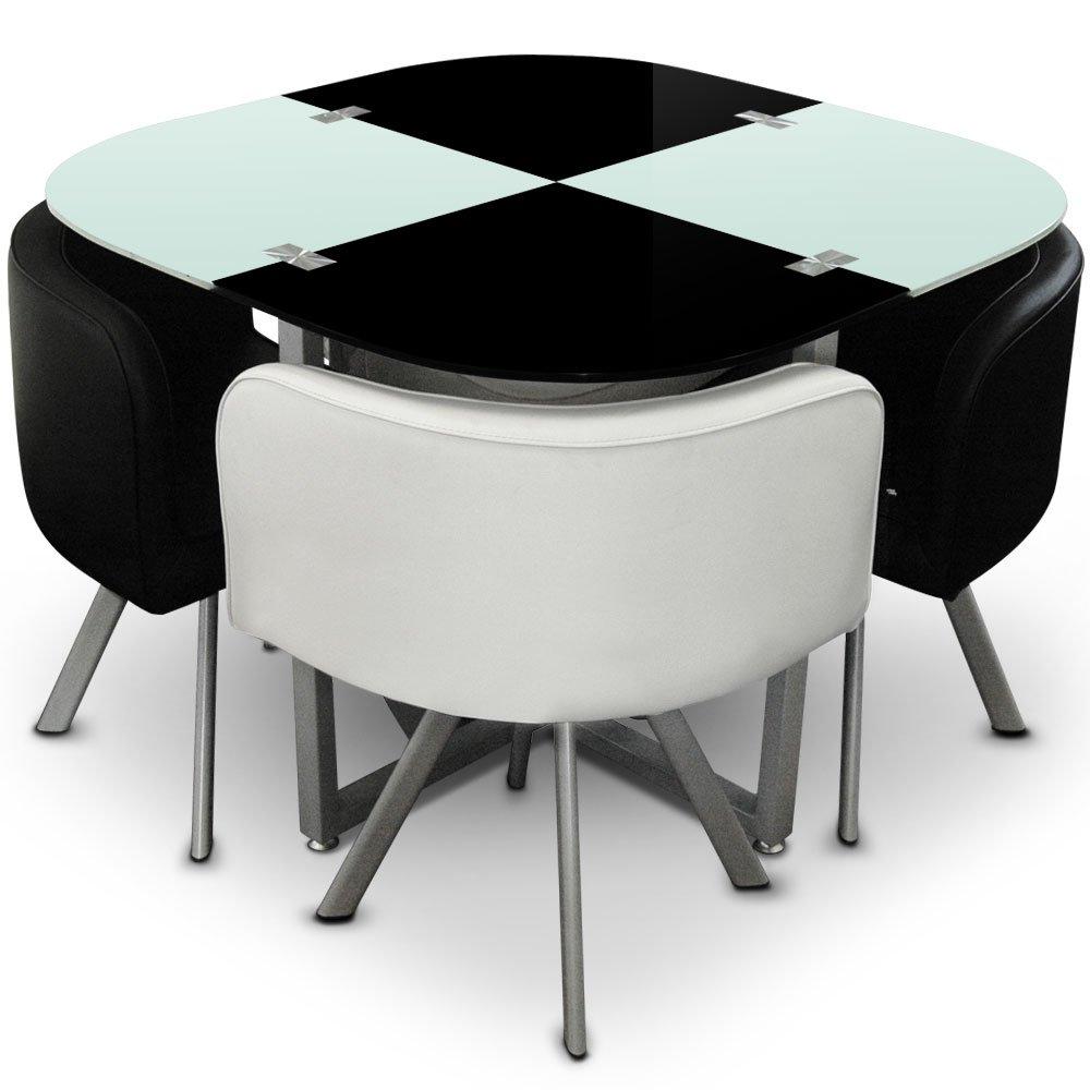 Menzzo P803 Contemporain Mosaic 90 Table Et Chaises Mtal Verre Noir Blanc X 75 Cm Amazonfr Cuisine Maison