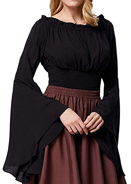 b4b1bfd7a938 Amazon.com: Womens Renaissance Blouse Off Shoulder Trumpet Sleeve Peasant  Tops Medieval Victorian Costume: Clothing