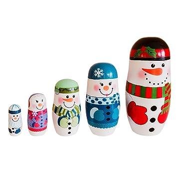 Geschenke Russland Weihnachten.Symboat Russische Puppe 5 Stück Set Weihnachten Schneemann Russisch