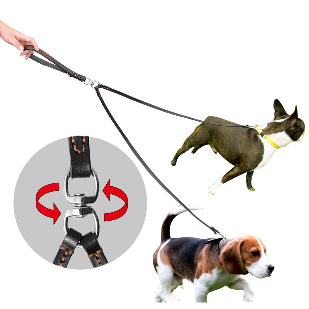 PET ARTIST 2 Way Tangle Free Dog Leash, Double Dog Leash No Tangle Coupler Twin Dog Lead Walking Leashs for Small Medium Large Dogs by PET ARTIST