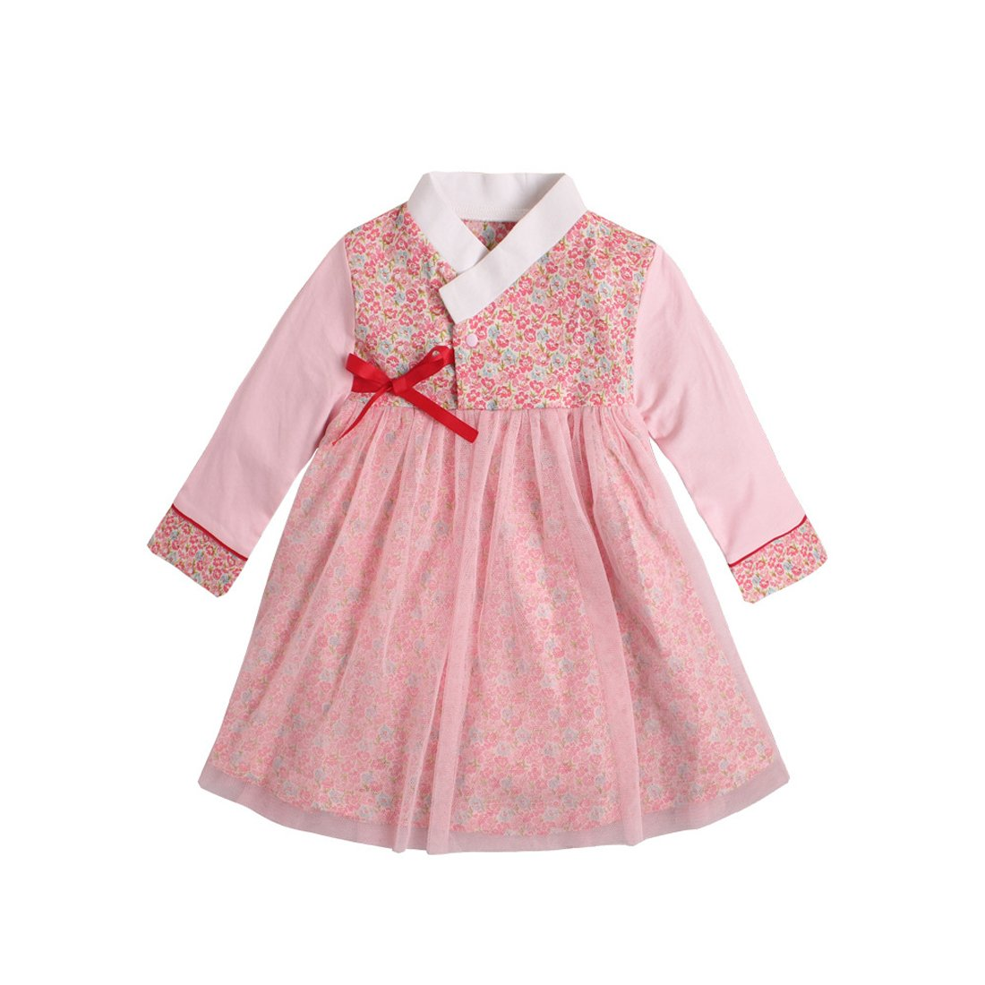 PAUBOLI Baby Girl Korean Clothes Long Sleeve Romper Dress Korean Hanbok