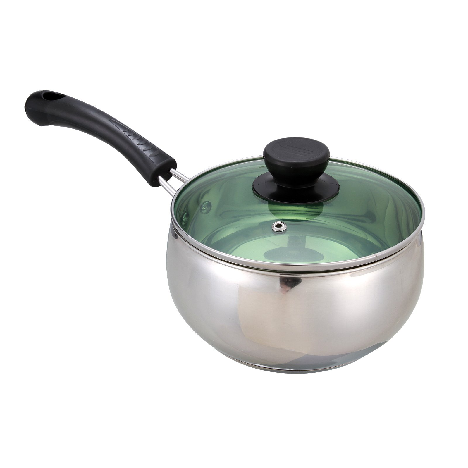 Anmas Home Stainless Steel 2 Quart Saucepan Soup Milk Pot with Lid Handle Induction Ceramic Gas Cooktop Compatiable (B Style)