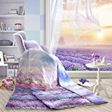 LOVO Fragrance of Provence Lavenders Cotton Quilted Throw Bedspread Coverlet Twin